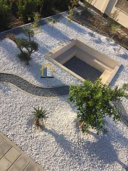 محوطه سازی و لند اسکیپ با سنگ رودخانه ای